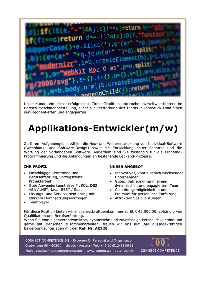 Applikations-Entwickler (m/w)