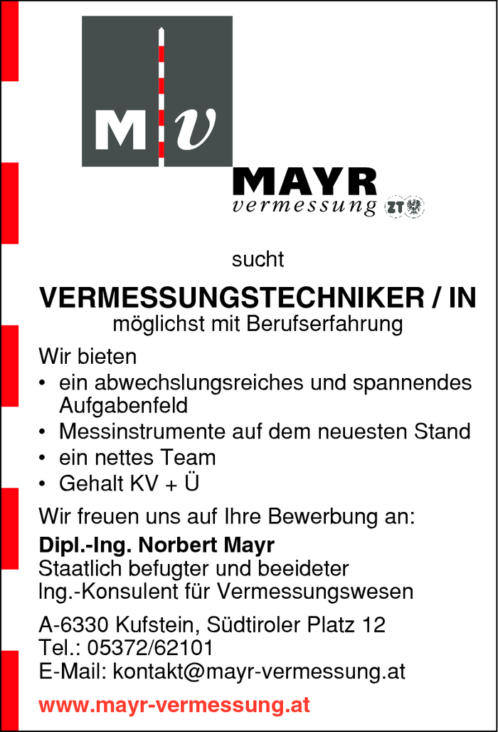 VERMESSUNGSTECHNIKER / IN