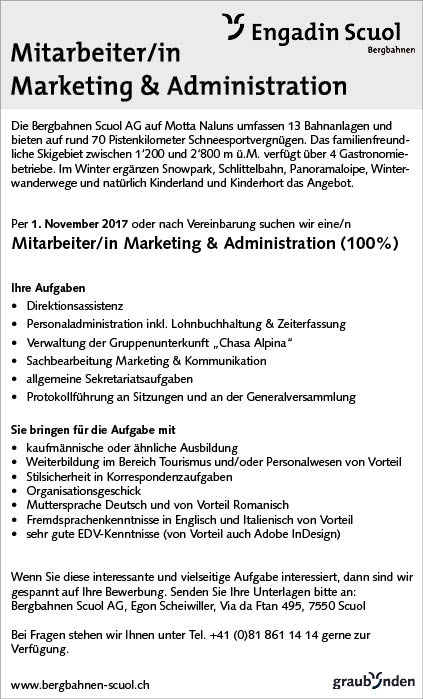 Mitarbeiterin Marketing/Administration (100%)