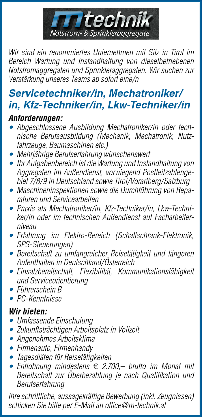 Servicetechniker/in, Mechatroniker/in, Kfz-Techniker/in, Lkw-Techniker/in
