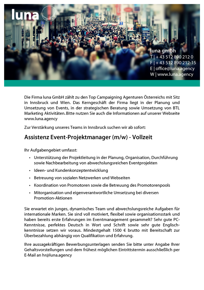 Assistenz Event-Projektmanager (m/w)