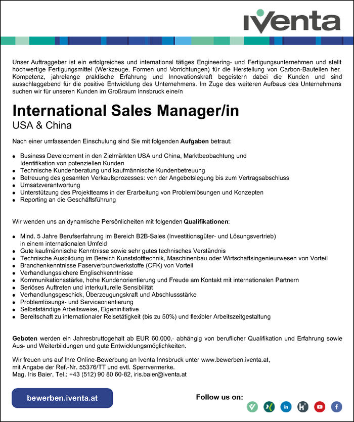 International Sales Manager/in (USA & China)