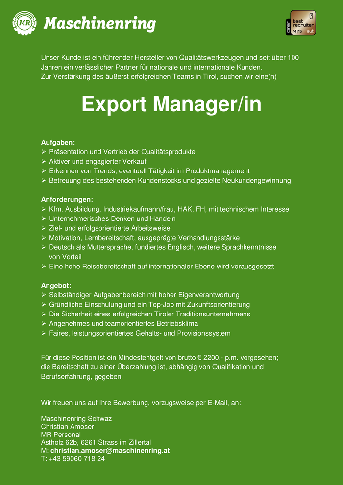 Export Manager/in international