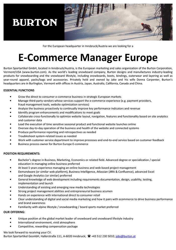 E-Commerce Manager Europe (m/w)