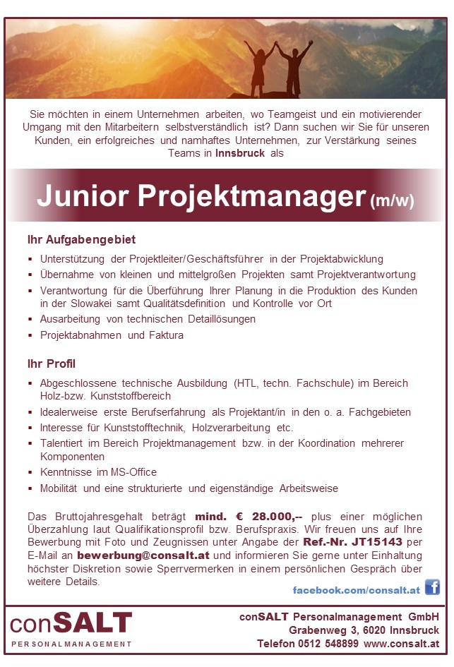 Junior Projektmanager (m/w)