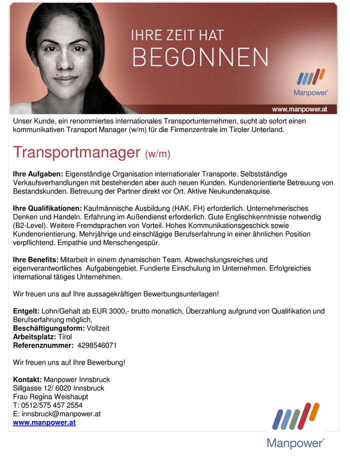 Transportmanager (w/m)
