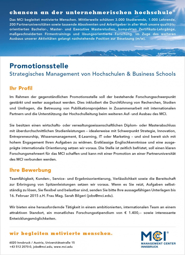 Promotionsstelle - Strategisches Management von Hochschulen & Business Schools