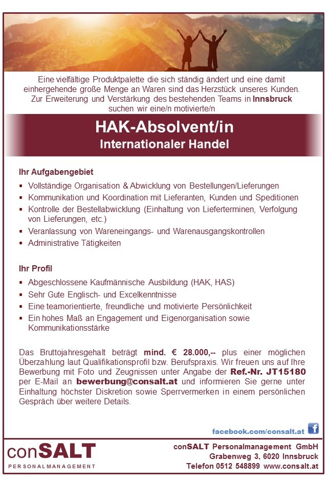 HAK-Absolvent/in bzw. HBLA-Absolvent/in Internationaler Handel
