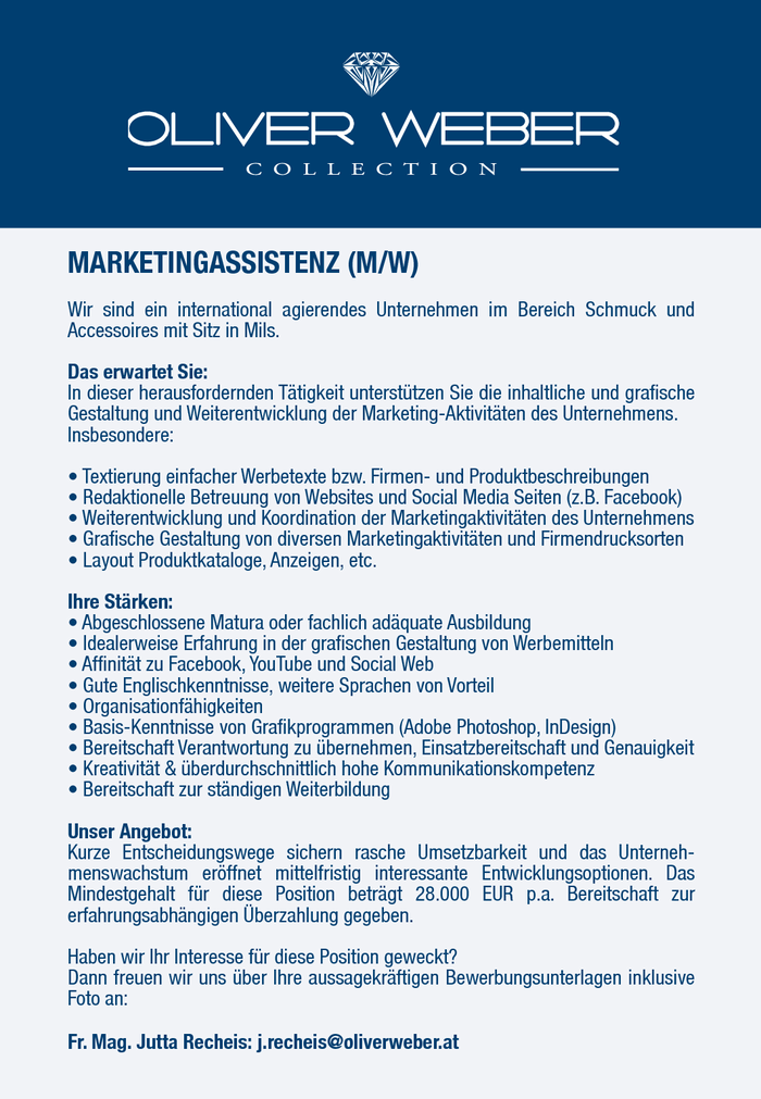 MARKETINGASSISTENZ (M/W) (Vollzeit od. Teilzeit)