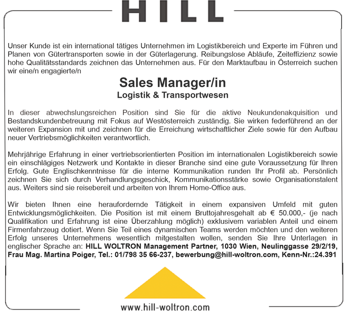 Sales Manager/in - Logistik & Transportwesen