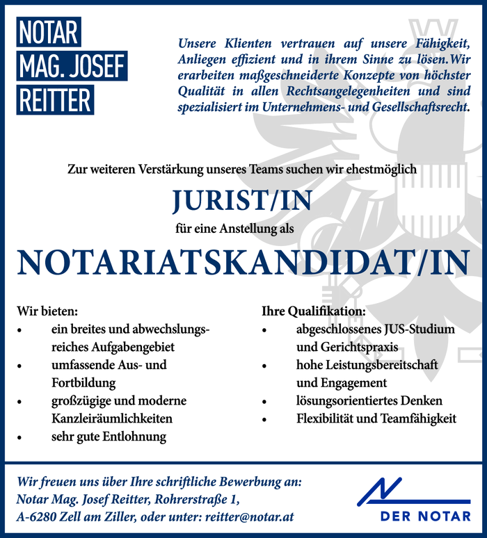 JURIST/IN & NOTARIATSKANDIDAT/IN