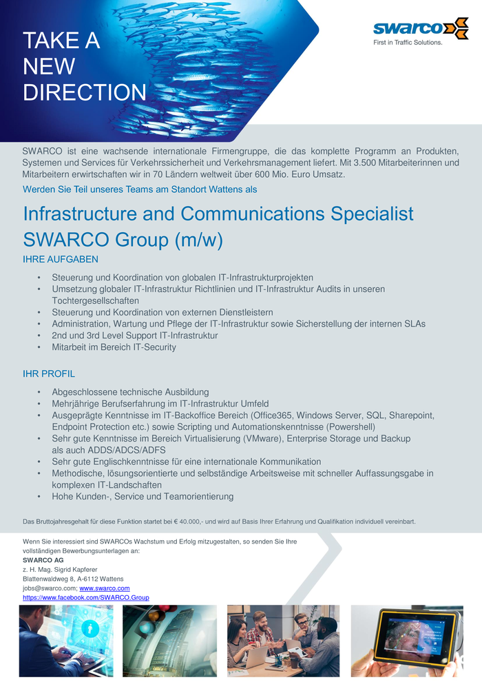 Infrastructure and Communications Specialist SWARCO Group (m/w)