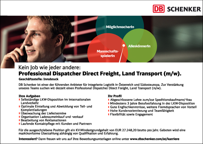 Professional Dispatcher Direct Freight, Land Transport (m/w)