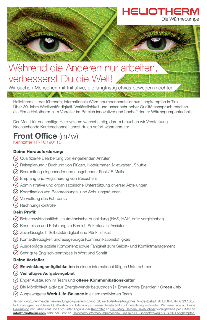 Front Office (m/w)