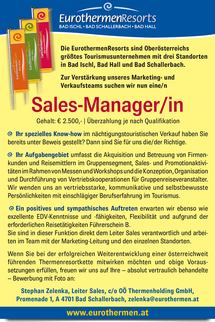 Sales-Manager/in - 4701 Bad Schallerbach - Oberösterreich