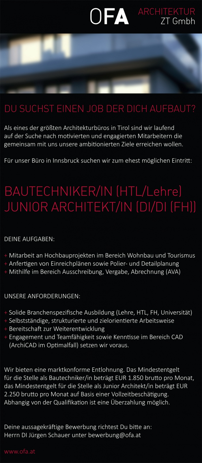 Bautechniker(in) / Junior Architekt(in)