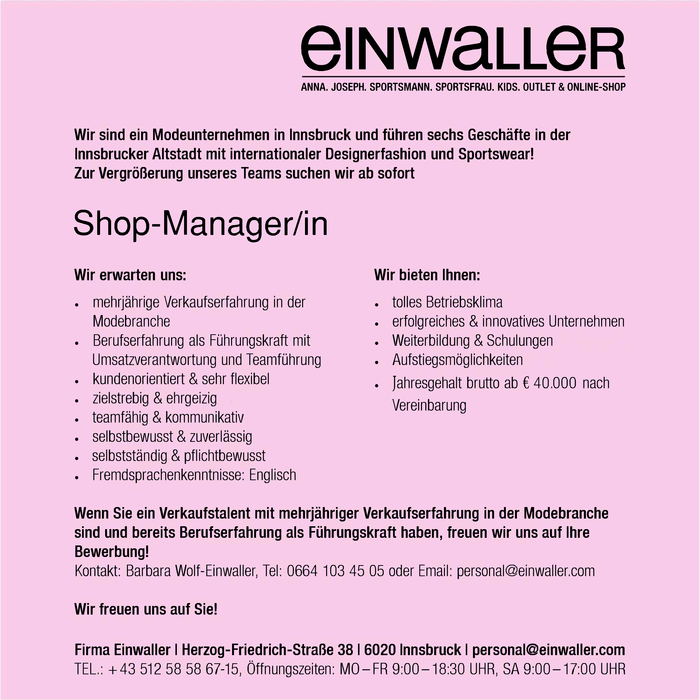 Shop-Manager/in