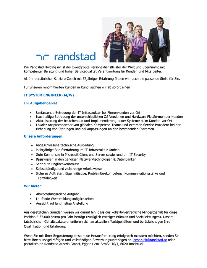 IT SYSTEM ENGINEER (M/W)