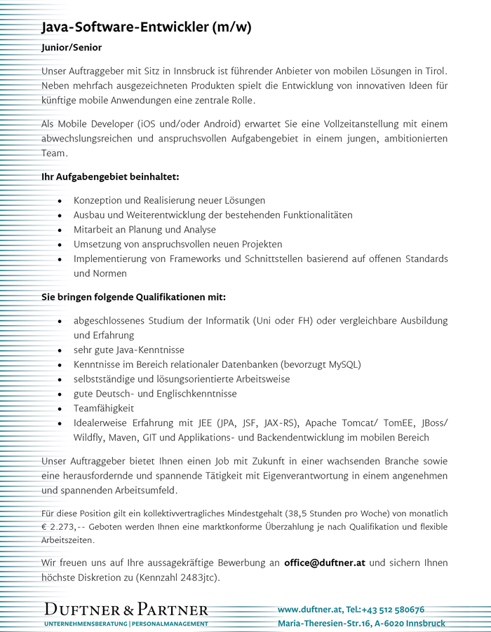 Java-Software-Entwickler (m/w) im Bezirk Innsbruck-Stadt - Bewirb ...