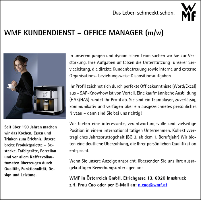 WMF KUNDENDIENST – OFFICE MANAGER (m/w)