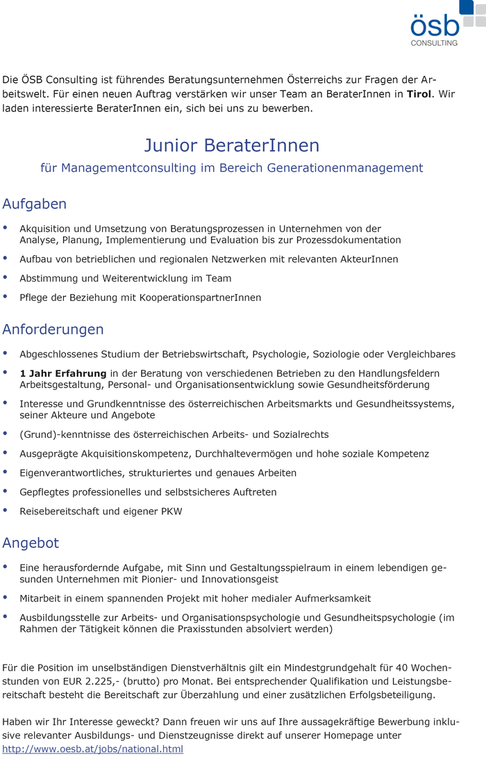 Junior BeraterInnen für Managementconsulting