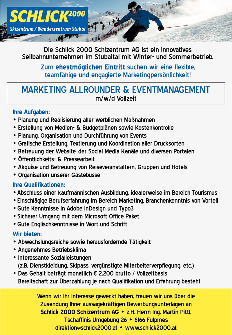 MARKETING ALLROUNDER & EVENTMANAGEMENT m/w/d