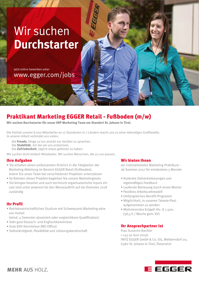 Praktikant Marketing EGGER Retail - Fußboden (m/w)
