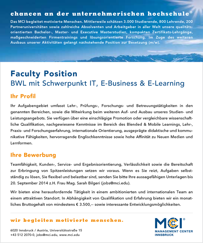 Faculty Position - BWL mit Schwerpunkt IT, E-Business & E-Learning
