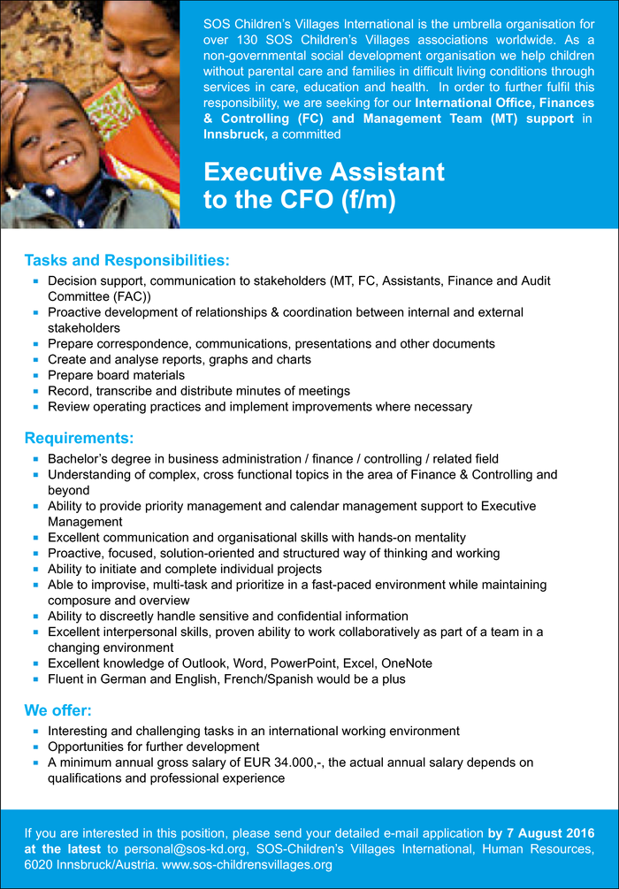 Executive Assistant to the CFO (f/m)