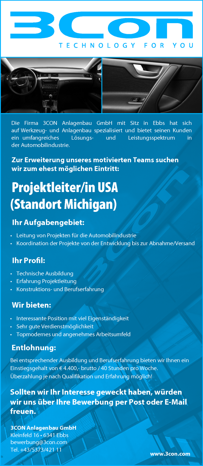 Projektleiter/in USA (Standort Michigan)