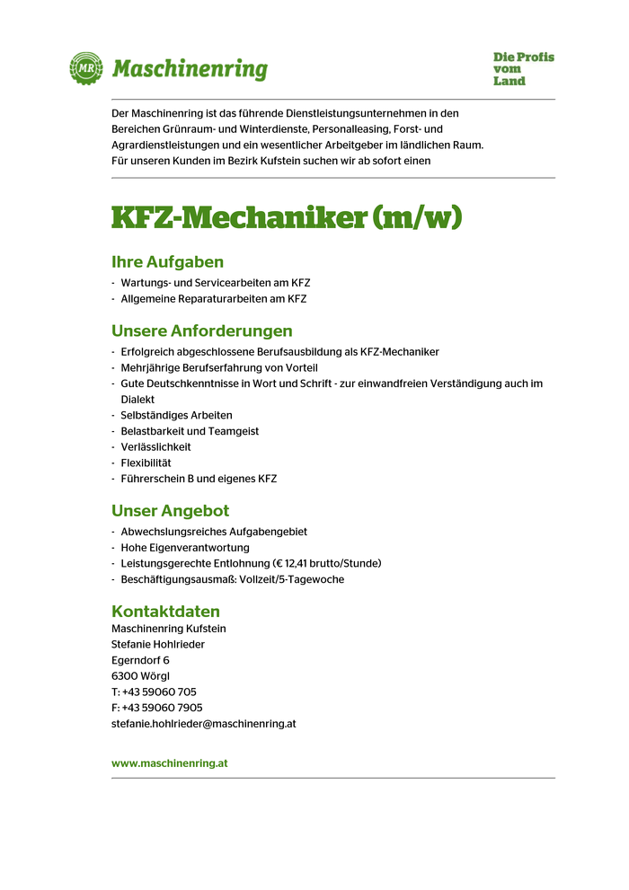 KFZ-Mechaniker (m/w)