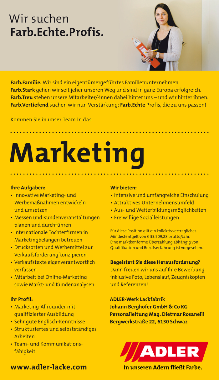 Kommen Sie in unser Team in das Marketing!