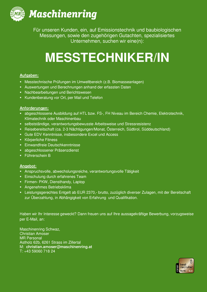 MESSTECHNIKER/IN