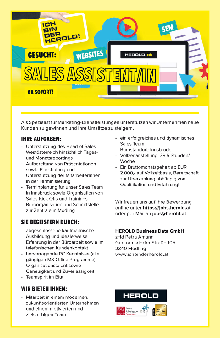 Sales Assistent/in