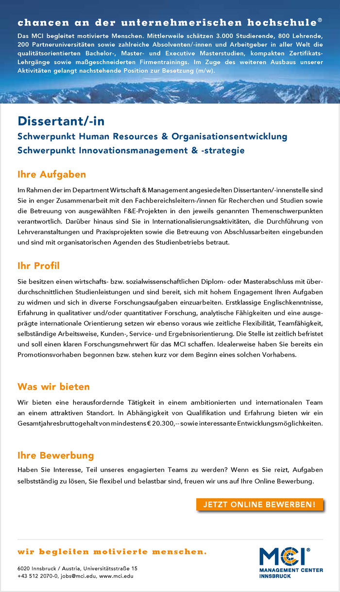Dissertant/-in |  Schwerpunkt Human Resources & Organisationsentwicklung | Schwerpunkt Innovationsmanagement & -strategie