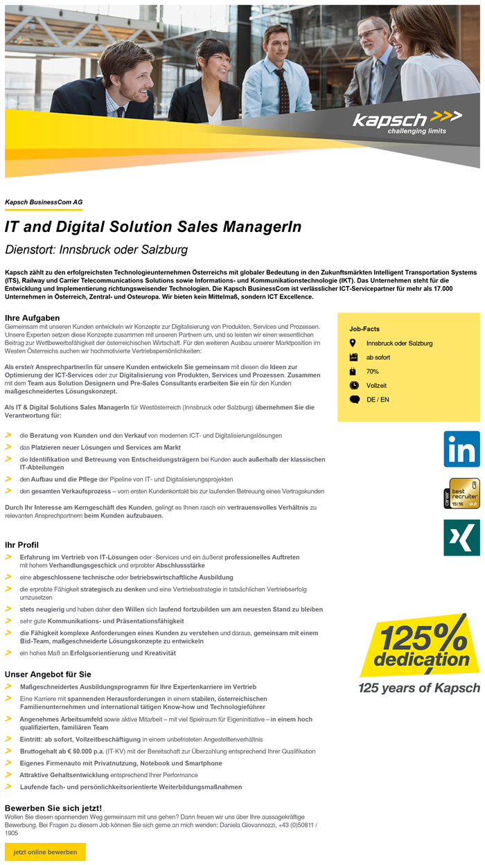 IT and Digital Solution Sales ManagerIn