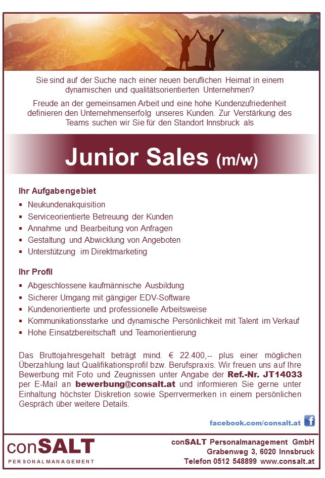 Junior Sales (m/w)