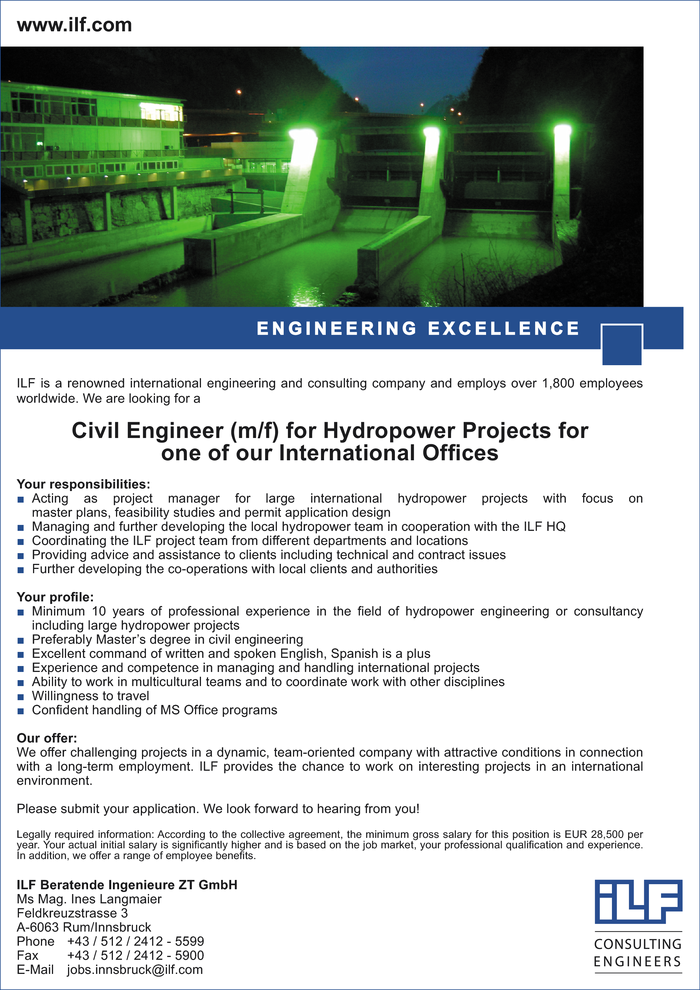 Civil Engineer (m/f) for Hydropower Projects for one of our International Offices