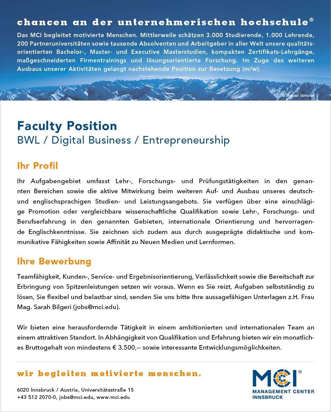 Faculty Position - Digital Business Management / Entrepreneurship