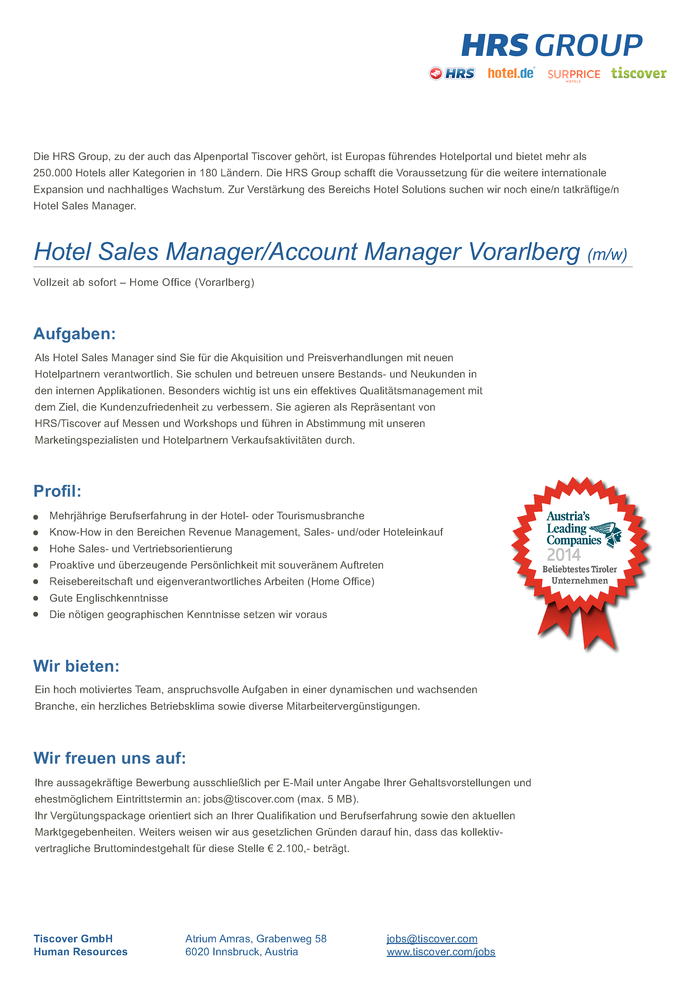 Hotel Sales Manager/ Account Manager Vorarlberg (m/w)