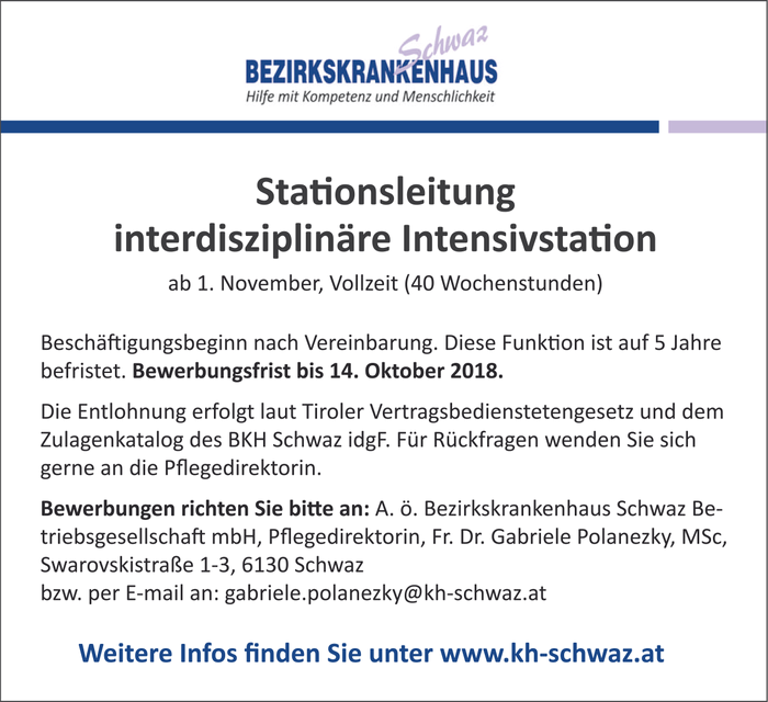Stationsleitung  interdisziplinäre Intensivstation