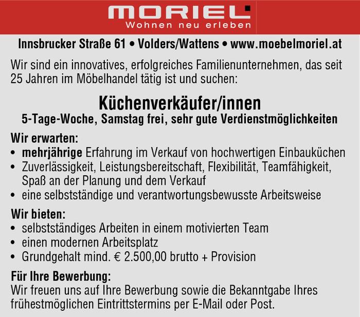Küchenverkäufer jobs  Küchenverkäufer/innen im Bezirk Innsbruck-Land - Bewirb dich auf ...
