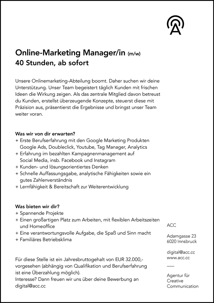 Online-Marketing Manager/in (m/w)