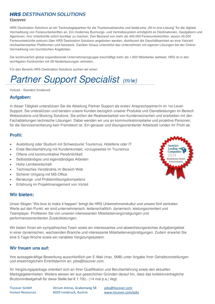 Partner Support Specialist  (m/w)