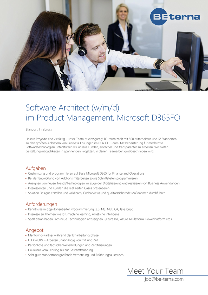 Software Architect (w/m/d) im Product Management, Microsoft D365FO