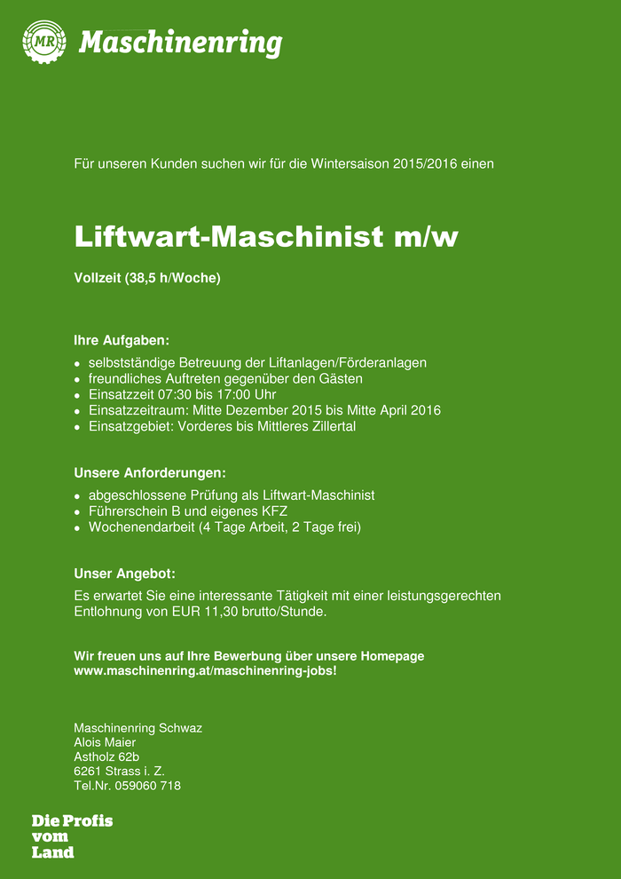 Liftwart-Maschinist m/w