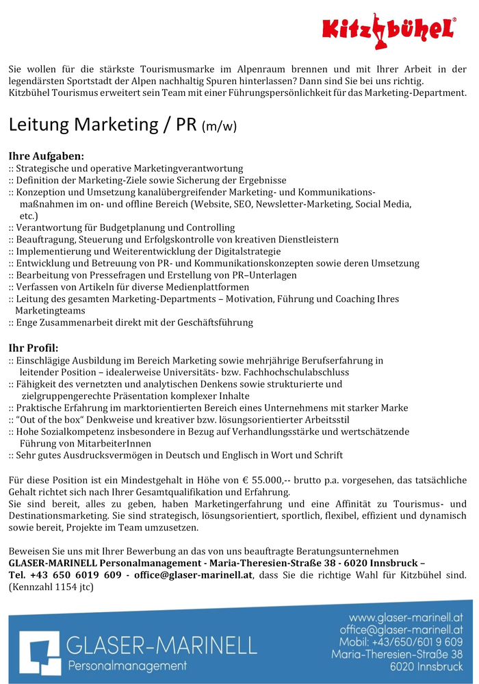 Leitung Marketing / PR (m/w) -  Kitzbühel Tourismus
