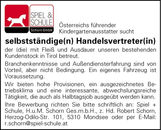 Handelsvertreter(in)