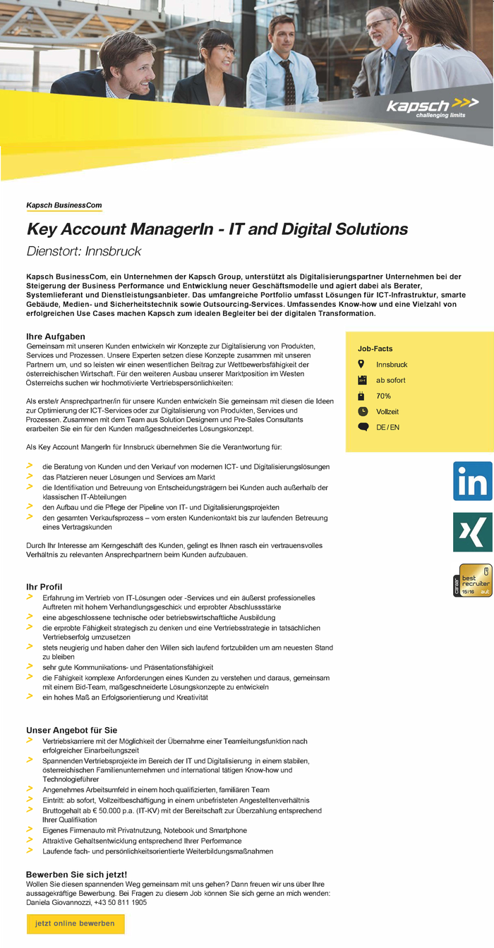 Key Account ManagerIn - IT and Digital Solutions