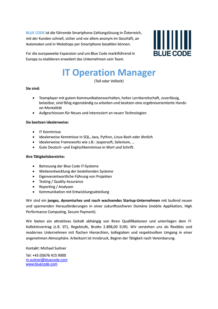 IT-Operation Manager (m/w)